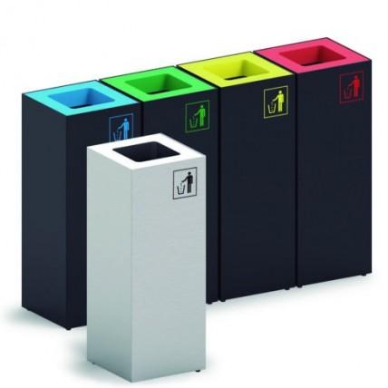 """Papeleiras """"cubic"""" p/reciclagem 40L Preto/Azul"""