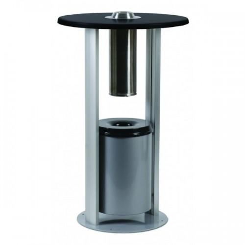 Mesa com cinzeiro de pé| base de aço resistente
