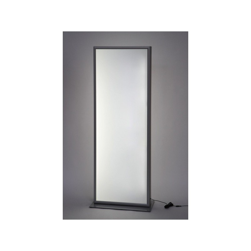 Totem com porta poster de LED| acabamento anodizado em prata