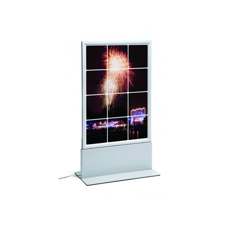Totem com porta poster de LED Thin| alminio anodizado em prata