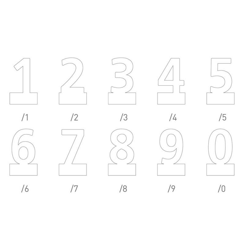 "Pictograma ""Typo"" em inox auto-adesivo (números)"